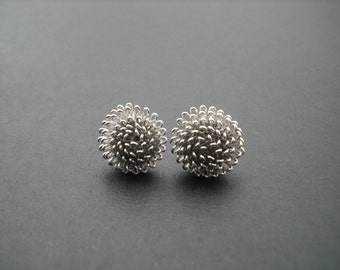 dandelion stud earrings - white gold plated and sterling silver post