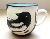 Porcelain Hand Carved Cup with Magpie