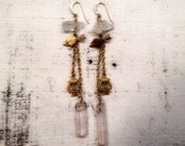 Solid Vintage Heart Arrow Harp Charm and Natural Quarts Crystal Brass Earrings OOAK One of a Kind