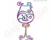 Curly Wine Glass 3 - Instant Download -Digital Machine Embroidery Design