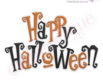 Happy Halloween Creepy Words -Instant Download -Digital Machine Embroidery Design