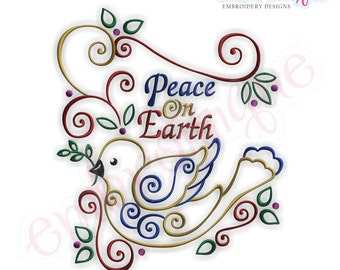 Peace on Earth Holiday Bird -Instant Download -Digital Machine Embroidery Design