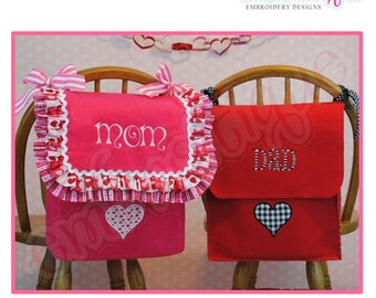 Posh and Proper - Mom and Dad Valentine Chair Backer Bags - PDF Sewing & Embroidery Pattern - Includes Heart Applique