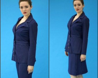 Vintage 1960s Mod Mad Men Moody Street by Puritan Blue and White Dotted Three Piece Suit
