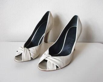 Bone White Peep Toe Ferragamo Heels, 6.5