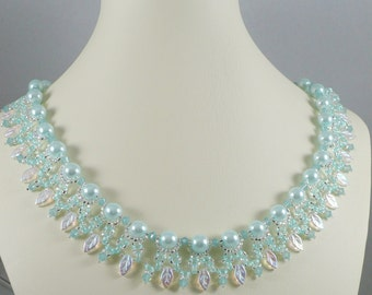 Woven Twin Bead Necklace Mint Green Pearls with Leaves
