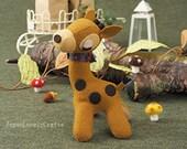Stuffed Animal Giraffe - Japanese Felt DIY Kit - Die Cut Felt Easy Animal Pattern & Kits - Kawaii Adorable Retro Doll - Mieko Kondo - F103
