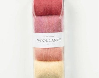 Japanese Needle Wool Felt 4 Colors Set, Orchid Pink Selection - Solid, Mix, Natural Blend - Colorful Candy Hamanaka, Felting Roving, F60