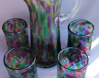 Hand Blown Glass Pitcher and a set of 4 matching glasses.