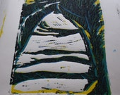 SALE Dragon's Eye from The Hobbit OR Country Lane -  Hand Printed Lino cut