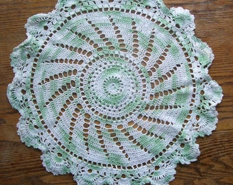 Green and White Hand Crocheted Windmill Pattern Round Cotton Doily,  Ruffled Edge, Home Decor, Parlor Table, Made in USA,St. Patricks Decor