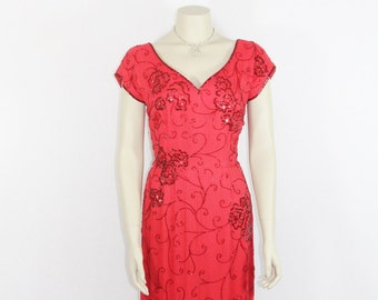 1950's Vintage Red Party Dress - Gorgeous Red Beaded Knee Length Cocktail Party Dress
