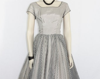 1950's Vintage Dress -  White and Black Checkered Chiffon Full Skirt Party Dress - 38 / 28 / full