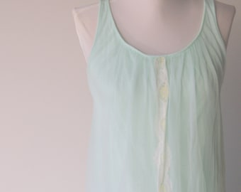 Vintage Green Chiffon Nightgown by Miss Elaine