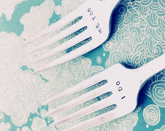 Custom Hand Stamped Vintage I DO ME TOO forks Goozeberry Hill - perfect wedding present / gift