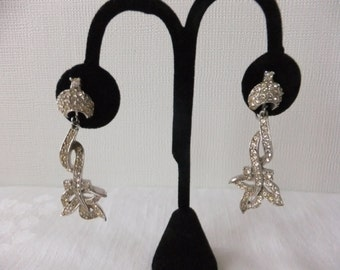 Vintage Earrings Rhinestone Clip On Silver Tone Formal Dangle Prom Wedding Costume Jewelry Clip Clips