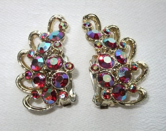 Vintage Earrings Clip On Iridescent Rhinestone Goldtone Retro Formal Fashion Clips Costume Jewelry