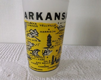 Vintage Souvenir State Glass Tumbler Arkansas White Frosted with Yellow and Black Vacation Travel Retro Road Trip Decorative