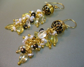 Yellow Beryl Aquamarine Spinel Keishi Pearls Wire Wrapped Enamel Gold Dangle Earrings