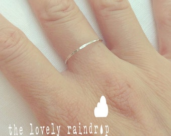 SALE - Build Your Own Stack - Sterling Silver Stacking Ring - Dainty Hammered Band - Love - Wedding Jewelry - Simple Everyday - Minimalist