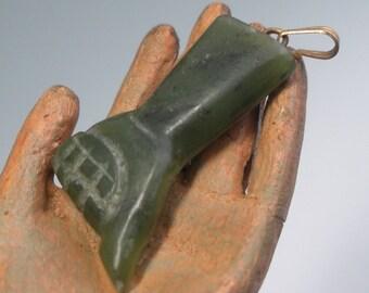 Carved Jade Figa Fist Pendant Charm