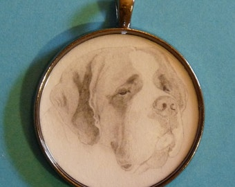 St Bernard Original Pencil Drawing Pendant with Organza Pouch -Choice of Necklaces -Free Shipping- Desert Impressions