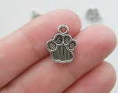 BULK 50  Paw  charms antique silver tone PP16