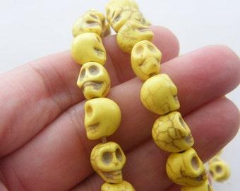 40 Yellow skull beads 10 x 8mm