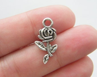 10 Rose charms antique silver tone F57