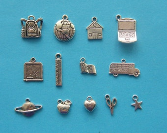 The School Collection - 13 antique silver tone charms