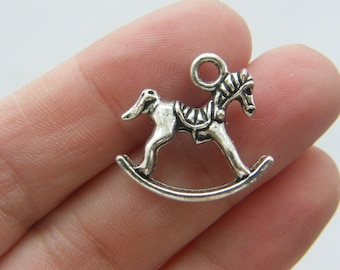 4 Rocking horse charms antique silver tone BS48