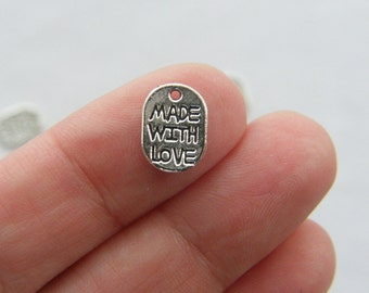 20 Made with love charms 11 x 8mm antique silver tone M141