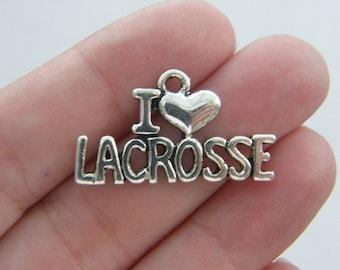6 I love lacrosse pendants antique silver tone SP105