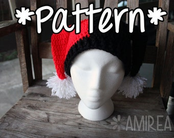 INSTANT DOWNLOAD -- Harley Quinn Beanie Hat - Crochet Pattern - Adult, Teen, Toddler, Baby Sizes