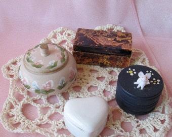 Cottage Chic Trinket Box/French Decor - Set of Four