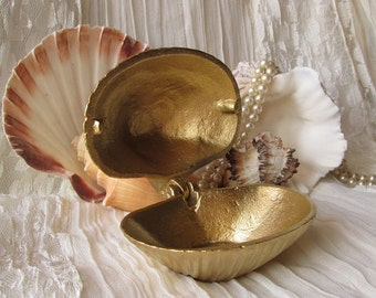 Cast Iron Clam Shell Jewelry Holder Painted  in Brass