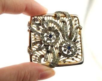 Rhinestone Flower Brooch - Vintage