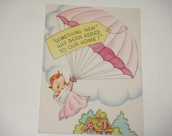 8 Baby Announcements Unused Vintage Stock - Baby Parachuting