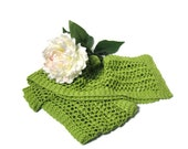 Valentine's Day, Green Scarf, Knit Scarf, Lacy Scarf, Fiber Art, Womens Scarf, Spring Scarf, Mothers Day, Hand Knit, Fashion Scarf,