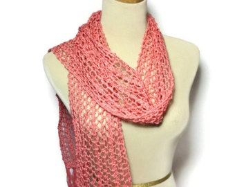 Valentine's Day, Sale Coral Beauty Scarf, Knit Scarf, Hand Knit Scarf, Lacy Scarf, Mothers Day, Spring Scarf, Gift For Her, Fashion Scarf