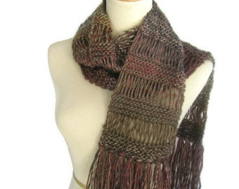 Knit Scarf, Portrait Scarf, Hand Knit Scarf, Multicolor Scarf, Fall Colors, Gift For Her, Winter scarf, Fashion Scarf,  Brown Red, Taupe,