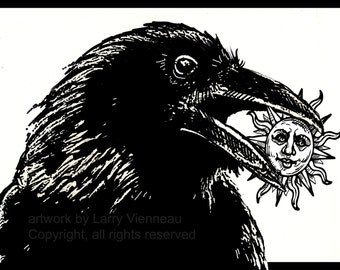 Raven artwork , Raven, crow,  relief print, 12 inch by 8 inch 2013