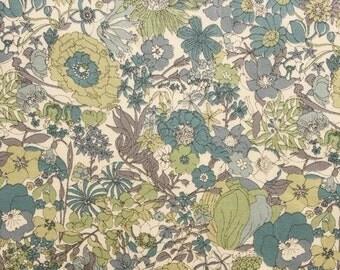 Liberty tana lawn printed in Japan - Sixty - Saxe blue khaki mix