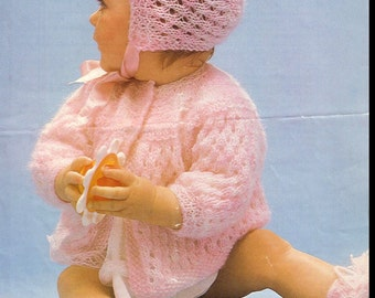 Baby Knitting PATTERN - Matinee Set, including bonnet, coat and bootees - 18 and 20 inch chest sizes