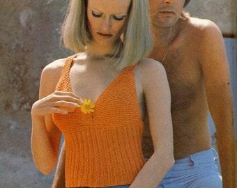 1960s KNITTING PATTERN - Women's Halter Top - Retro Boho Summer