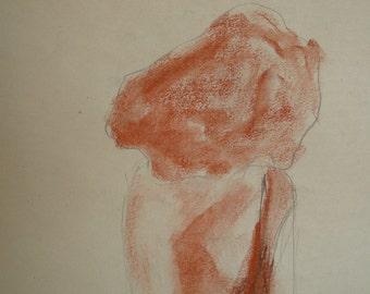 Collection Nude figure Original art school drawings  /37 original drawings male, female, vintage/  MATURE / Harvard Square Art Center
