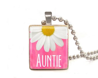 Pink Auntie Necklace | Jewelry for Auntie | Auntie Gift | Gifts for Aunts | Aunt Necklace | Auntie Charm | New Aunt Gift | Wood Necklace