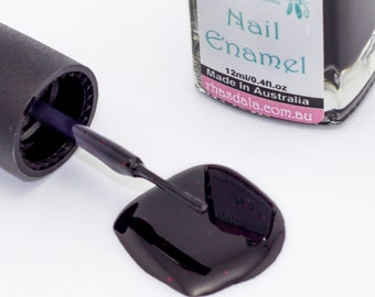 12ml Nail Polish - Cherry Cola - Satin Black With Red Glitter