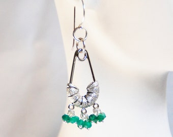 Green Quartz  Chandelier Earrings-  Dangle Drop Earrings