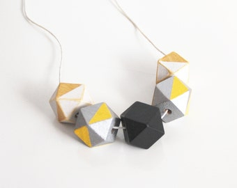 Geometric  Necklace- Hand Painted Wood Necklace- Statement Necklace- Summer necklace- Summer Spring necklace- Mother's Day Necklace-